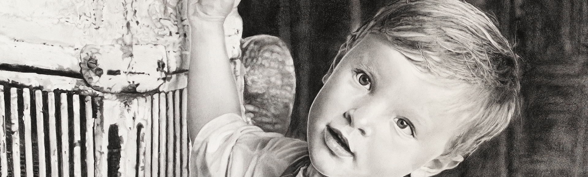 "Graphite drawing of ""Stephan"" a young Caucasian boy in a white tee shirt and jean overalls next to a paint peeled automobile."
